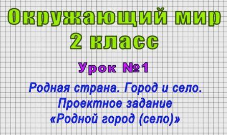 Окружающий мир 2 класс (Урок№1 - Родная страна. Город и село. Проектное зад. «Родной город (село)»)