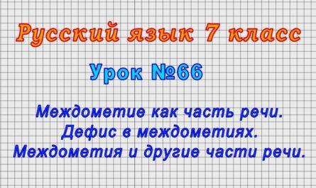 Русский язык 7 класс (Урок№66 - Междометие как часть речи. Дефис в междометиях.)