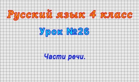 Русский язык 4 класс (Урок№26 - Части речи.)