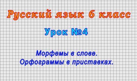 Русский язык 6 класс (Урок№4 - Морфемы в слове. Орфограммы в приставках.)