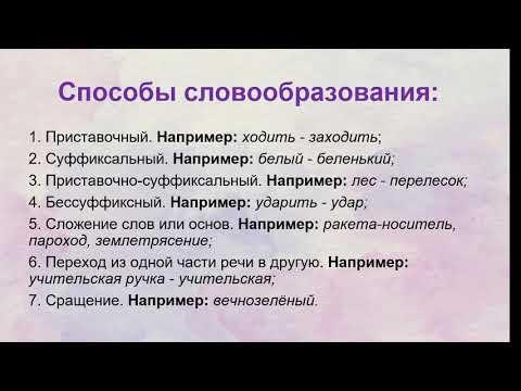 Русский язык 6 класс  Словообразование
