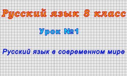 Русский язык 8 класс (Урок№1 - Русский язык в современном мире)