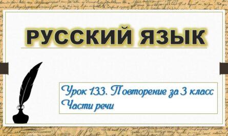 Дистанционный урок по русскому языку 3 класс повторение урок 133 Части речи учимся #ДомаВместе