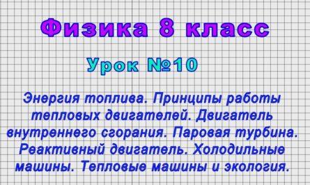 Физика 8 класс (Урок№10 - Энергия топлива. Принципы работы тепловых двигателей.)