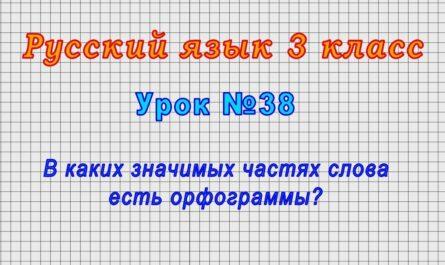 Русский язык 3 класс (Урок№38 - В каких значимых частях слова есть орфограммы?)
