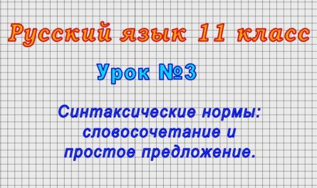 Русский язык 11 класс (Урок№3 - Синтаксические нормы: словосочетание и простое предложение.)