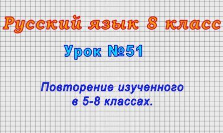Русский язык 8 класс (Урок№51 - Повторение изученного в 5-8 классах.)