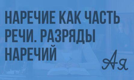 Наречие как часть речи. Разряды наречий. Видеоурок по русскому языку 7 класс
