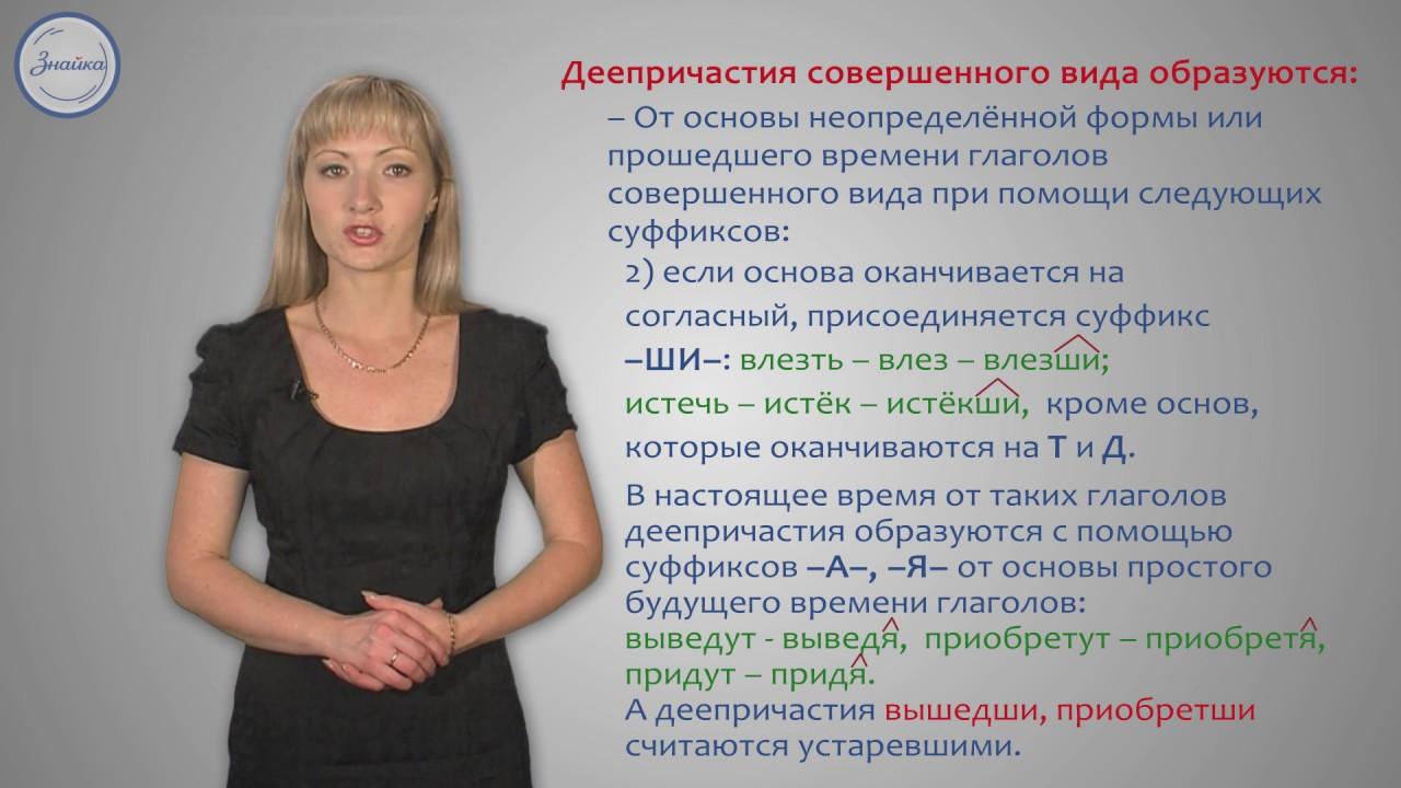 Русский 7 Деепричастия совершенного вида