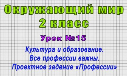 Окружающий мир 2 класс (Урок№15 - Культура и образование. Проектное задание «Профессии»)