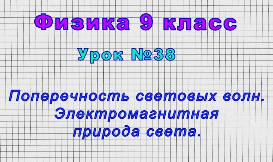 Физика 9 класс (Урок№38 – Поперечность световых волн. Электромагнитная природа света.)