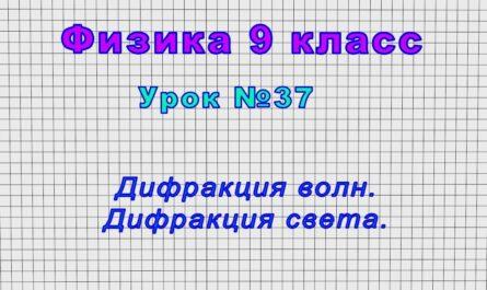 Физика 9 класс (Урок№37 - Дифракция волн. Дифракция света.)